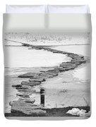 Rock Lake Crossing In Black And White  Duvet Cover