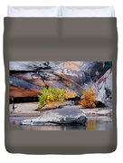 Rock Shrub And Bluff At Cumberland Falls State Park Duvet Cover