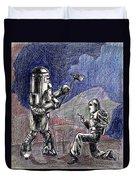 Rocket Man And Robot Duvet Cover