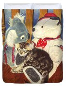 Rocking With Friends - Kitten And Stuffed Animals Painting Duvet Cover