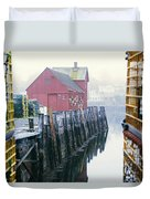 Rockport Harbor And Cages Duvet Cover
