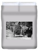 Rocks And Trees In Black And White Duvet Cover