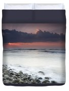 Rocky Beach At Sunrise Hawf Protected Duvet Cover by Sebastian Kennerknecht