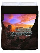 Rocky Buttes Viewed Through Canyon Duvet Cover