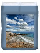Rocky Coast In Malibu California Duvet Cover