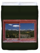 Rocky Mountain Autumn Red Rustic Picture Window Frame Photos Art Duvet Cover