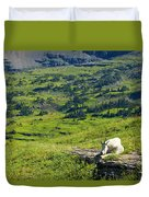 Rocky Mountain Goat Glacier National Park Duvet Cover