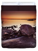 Rocky Shore At Twilight Duvet Cover