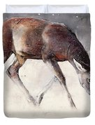 Roe Buck - Winter Duvet Cover by Mark Adlington