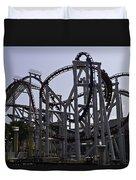 Roller Coaster Rides Inside The Universal Studio Park In Sentosa Duvet Cover