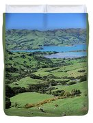 Rolling Fields With Grazing Sheep Duvet Cover