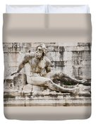 Roman Statue With Pigeon And Wildflowers Duvet Cover