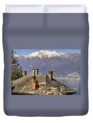 Roof With Chimney And Snow-capped Mountain Duvet Cover
