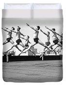 Rooftop Dancers In New York Duvet Cover