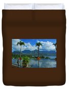 Rooftop Fountain In Paradise Duvet Cover