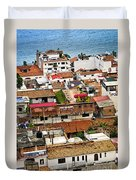 Rooftops In Puerto Vallarta Mexico Duvet Cover