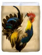 Rooster On The Prowl 2 - Vintage Tonal Duvet Cover