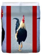 Rooster Triptych Duvet Cover