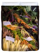 Root Vegetables At The Market Duvet Cover