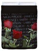 Roses Glow Against The Black Granite Duvet Cover