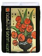 Roses In Vase Poster Duvet Cover