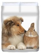 Rough Collie Pup With Rabbit Duvet Cover