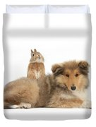 Rough Collie Pup With Sandy Netherland Duvet Cover