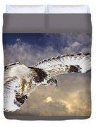 Rough Legged Hawk In Flight Duvet Cover