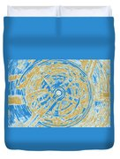 Round And Round Blue And Gold Duvet Cover