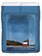 Round Island Lighthouse In Michigan Duvet Cover