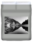 Round The Bend Buffalo River In Black And White Duvet Cover