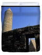 Round Tower And Chapel, Ulster History Duvet Cover by The Irish Image Collection