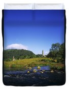 Round Tower And River In The Forest Duvet Cover