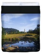 Round Tower In The Forest Glendalough Duvet Cover