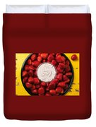 Round Tray Of Strawberries  Duvet Cover