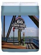 Route 66 - Chain Of Rocks Bridge And Gas Pump Duvet Cover