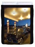 Route 66 Garage Scene Duvet Cover