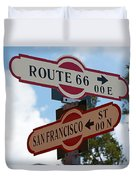 Route 66 Street Sign Duvet Cover