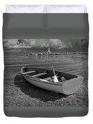 Row Boat On The Shore Of Lake Ontario In Toronto Duvet Cover