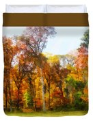 Row Of Autumn Trees Duvet Cover