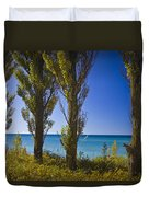 Row Of Cypress Trees At Point Betsie In Michigan No.0924 Duvet Cover
