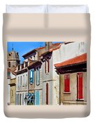 Row Of Houses In Arles Provence Duvet Cover