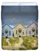 Row Of Pastel Colored Beach Cottages Duvet Cover
