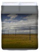 Row Of Utility Poles On The Prairie Duvet Cover