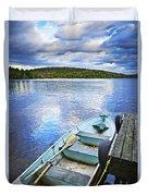 Rowboat Docked On Lake Duvet Cover