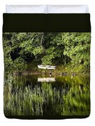 Rowboat Moored On The Bank Of A Lake Duvet Cover