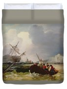 Rowing Boat Going To The Aid Of A Man-o'-war In A Storm Duvet Cover