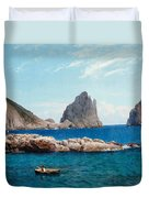 Rowing Off The Rocks Duvet Cover