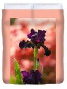 Royal Purple Tall Bearded Iris With Peachy Azalea Background Duvet Cover