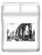Ruins Of Roman Aqueduct, 18th Century Duvet Cover by Photo Researchers